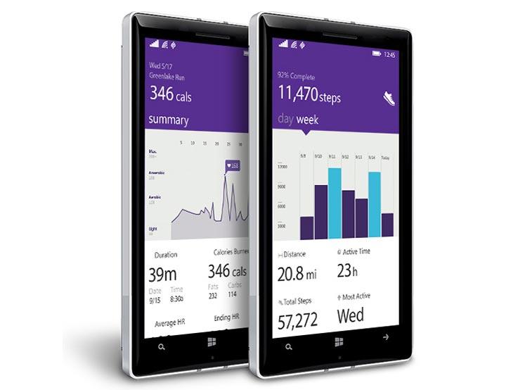 application Microsoft Health Windows Phone