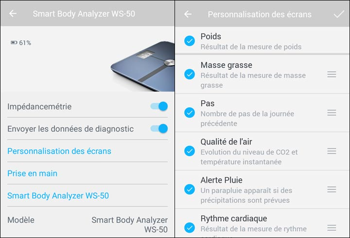 application Withings Smart Body personnaliser ecran
